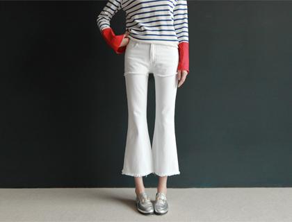 Layered boots-cut pants (ivory)(50% sale)