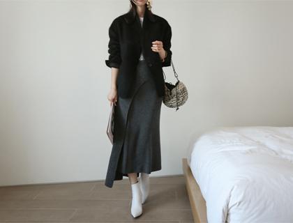 Lambswool wrap skirt