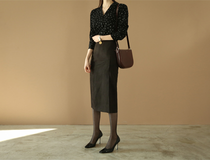 Suede H-line skirt