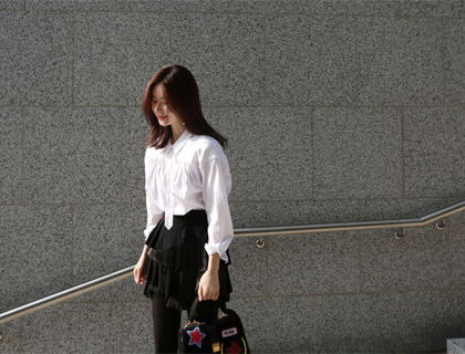 Herringbone shirring shirt