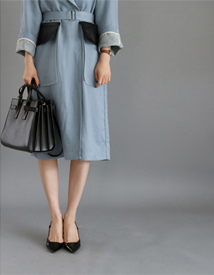 Leather pocket trench coat