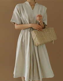 Linen shirring dress