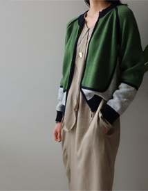 Zip-up combi cardigan