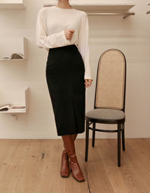 Wool-slit skirt