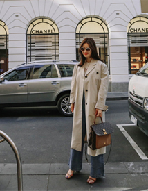 Over shoulder trench coat