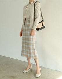 Geenery check skirt