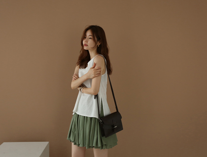 Maron pleats skirt