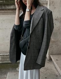 Notched check jacket