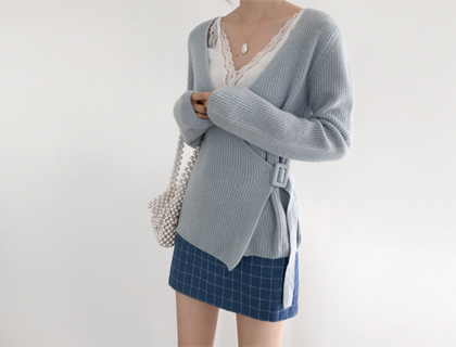Wrap belt cardigan
