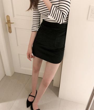 Mirror corduroy skirt