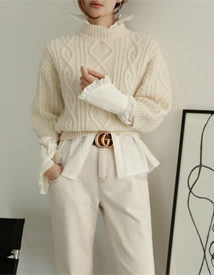Puff cable knit