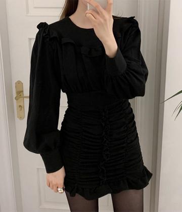 Much shirring dress