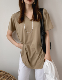 Unbal u-neck tee