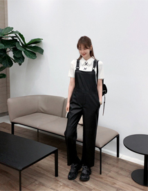 Leather overall pants