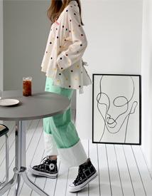 Macaron roll-up pants