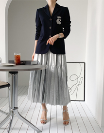 Leather-long pleats skirt