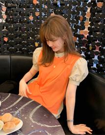 Knit vest blouse