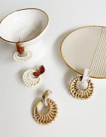 Circle rattan earring