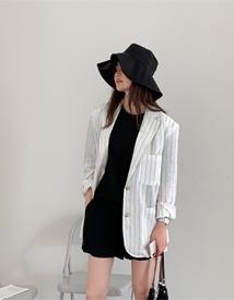 Stripe linen jacket