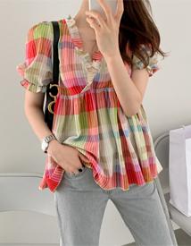 Sara check blouse