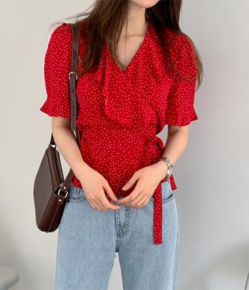 Dot wrap blouse