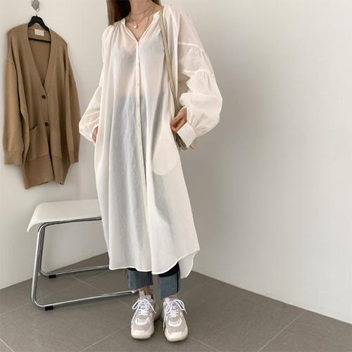 Organic gauze long dress