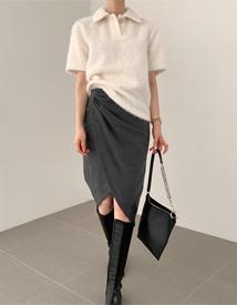 Tulip shirring skirt