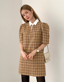Tweed short sleeve dress