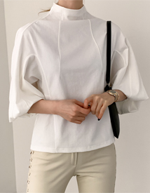 Pin tuck turtleneck tee