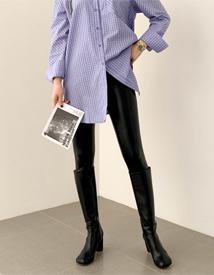 Mink leather leggings