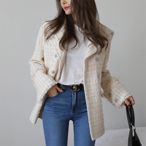Double collar tweed jacket