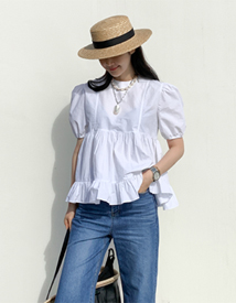 Rosy frill blouse