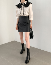 Leather pocket skirt