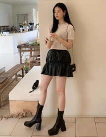 Pony leather skirt