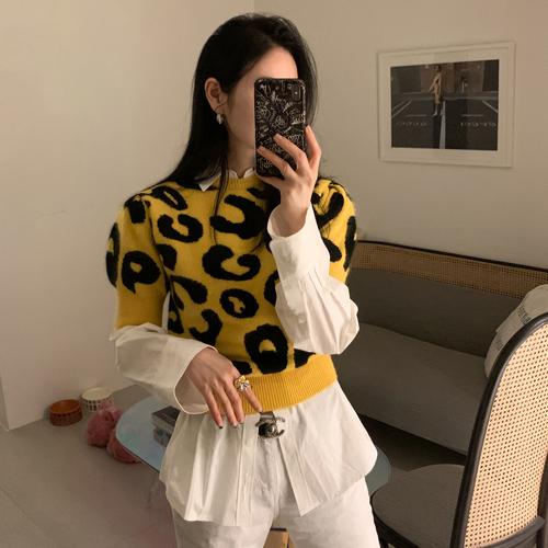 Leopard crop knit